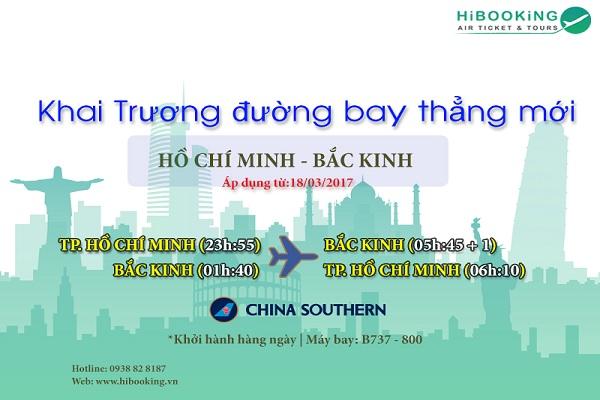 Khai trương đường bay thẳng từ Hồ Chí Minh đi Bắc Kinh